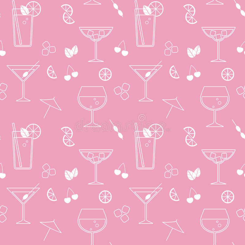 Teste padrão sem emenda do vetor com cocktail ilustração royalty free