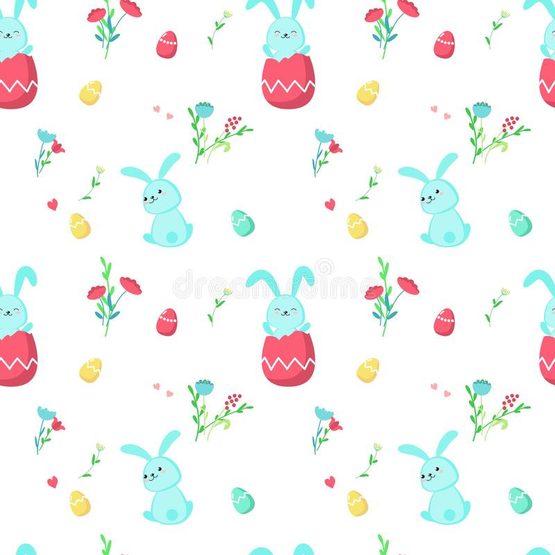 Teste padrão sem emenda do vetor com coelhos bonitos da Páscoa ilustração royalty free
