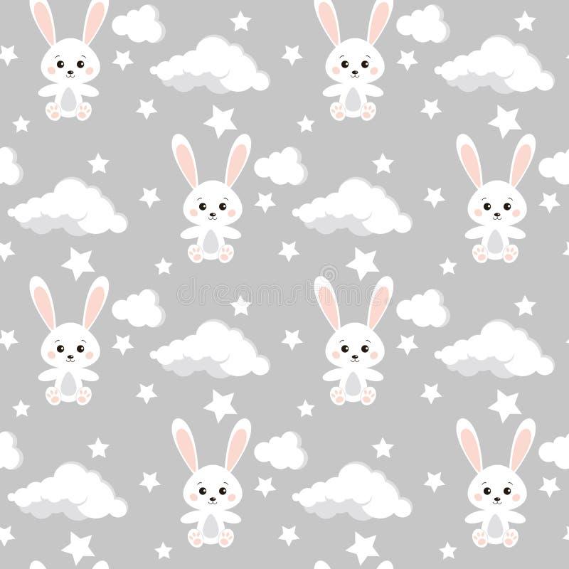 Teste padrão sem emenda do vetor com coelhos bonitos, nuvens, estrelas no fundo cinzento neutro da cor ilustração royalty free