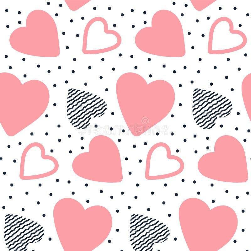 Teste padrão sem emenda do vetor com corações tirados mão ilustração stock