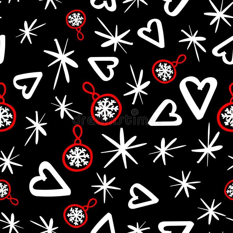 Teste padrão sem emenda do vetor com elementos do esboço Estilo abstrato da forma Projeto do feriado do Feliz Natal Fundo escuro ilustração royalty free
