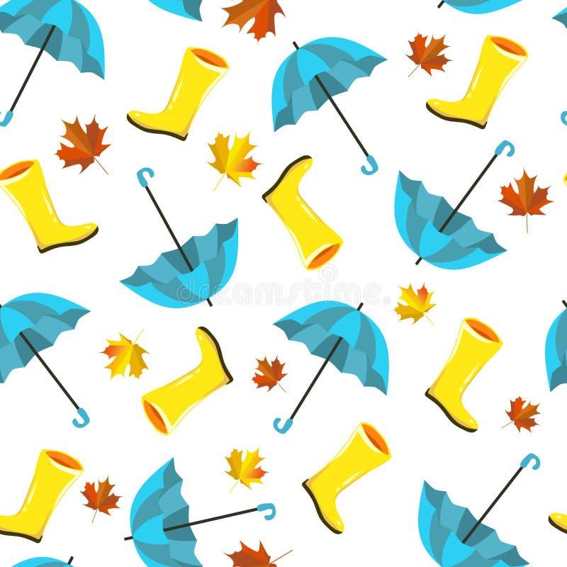 Teste padrão sem emenda do vetor com elementos do outono, ilustrações Chuva amarela, botas de borracha, guarda-chuvas azuis e fol ilustração stock