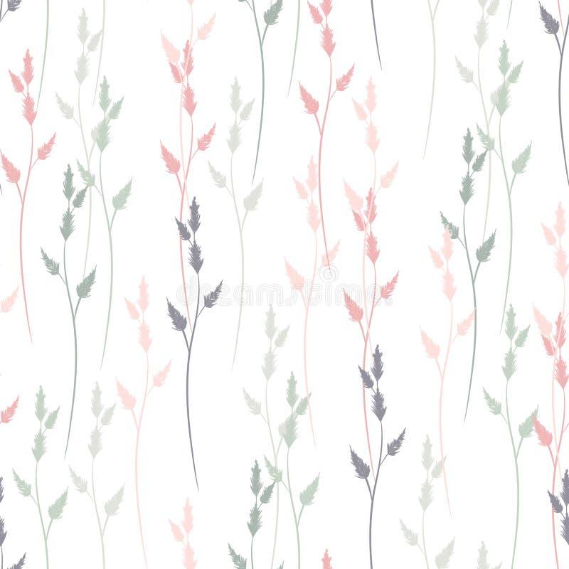 Teste padrão sem emenda do vetor com ervas e gramas Linhas delicadas finas silhuetas de plantas ilustração do vetor