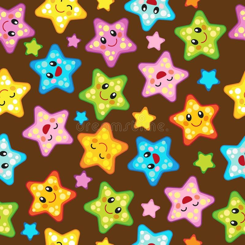Teste padrão sem emenda do vetor com estrelas bonitos Projeto alegre com os ornamento da estrela em vários tamanhos e cores ilustração royalty free