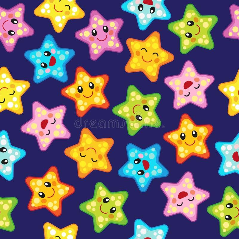 Teste padrão sem emenda do vetor com estrelas bonitos Projeto alegre com os ornamento da estrela em vários tamanhos e cores ilustração stock