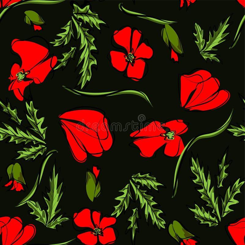 Teste padrão sem emenda do vetor com a flor vermelha da papoila do esboço, o botão e as folhas verdes no fundo preto Fundo floral ilustração royalty free