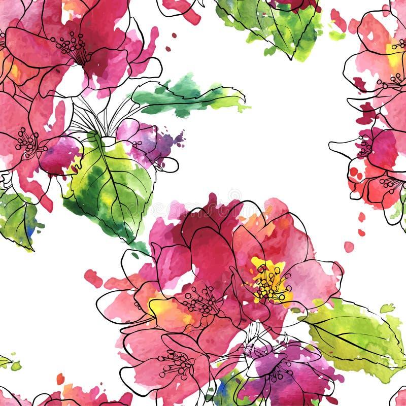 Teste padrão sem emenda do vetor com flores da maçã ilustração royalty free
