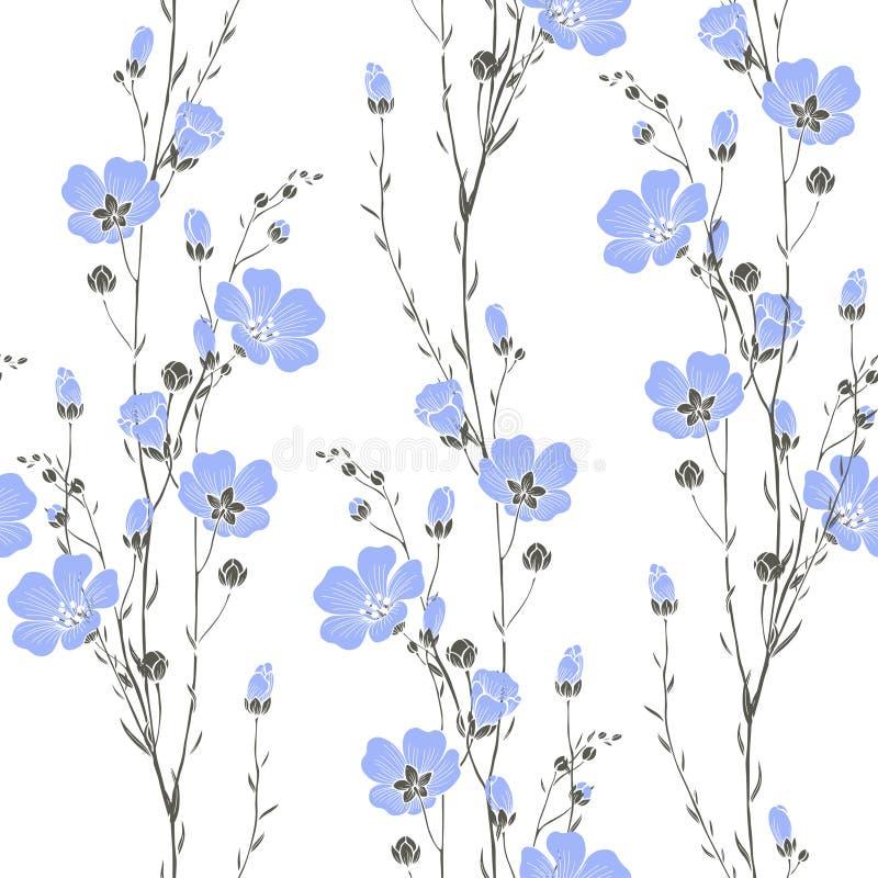 Teste padrão sem emenda do vetor com flores do linho ilustração stock