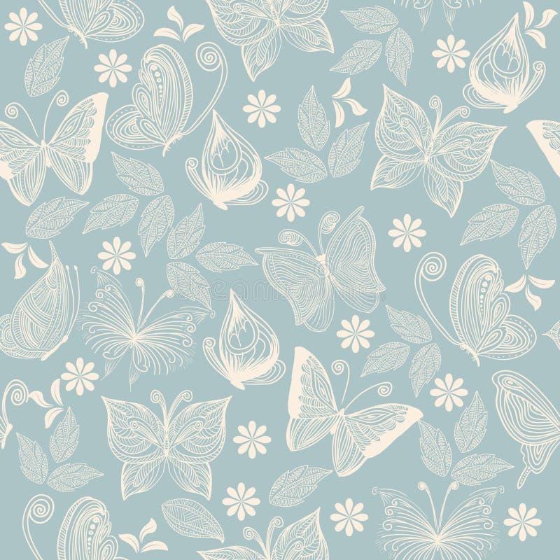 Teste padrão sem emenda do vetor com flores e borboletas ilustração do vetor