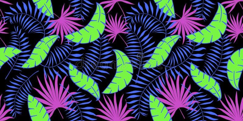Teste padrão sem emenda do vetor com folhas de palmeira Fundo preto, néon, verde, rosa, azul imagens de stock