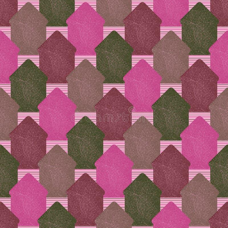 Teste padrão sem emenda do vetor com formas textured da casa em cores cor-de-rosa ilustração royalty free