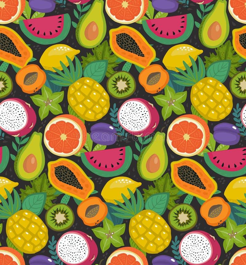 Teste padrão sem emenda do vetor com frutos e brries exóticos tropicais diferentes no estilo simples liso ilustração royalty free