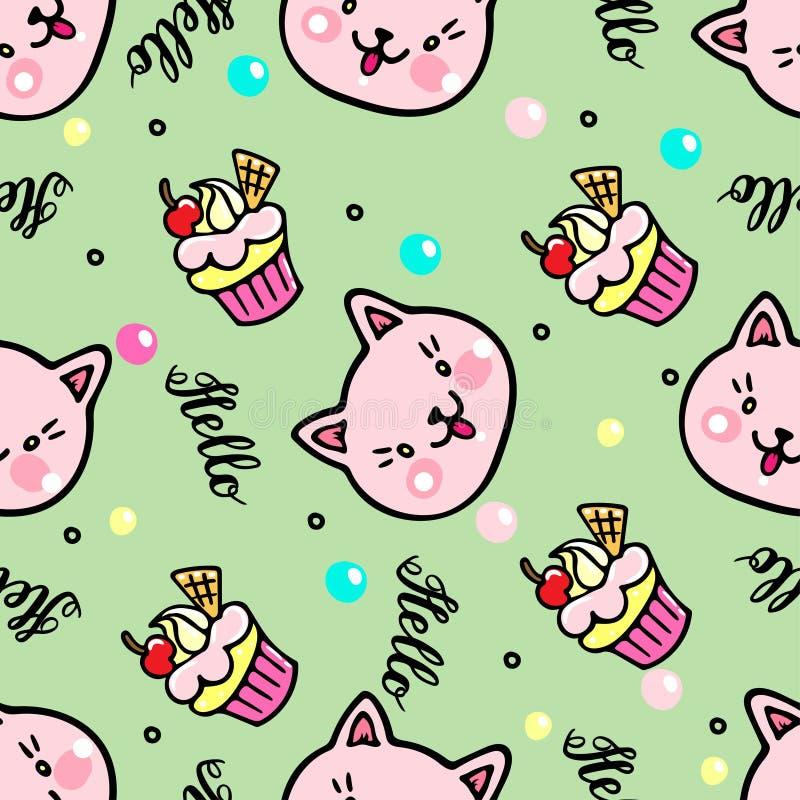Teste padrão sem emenda do vetor com gatinhos e queques Olá! rotulação ilustração royalty free