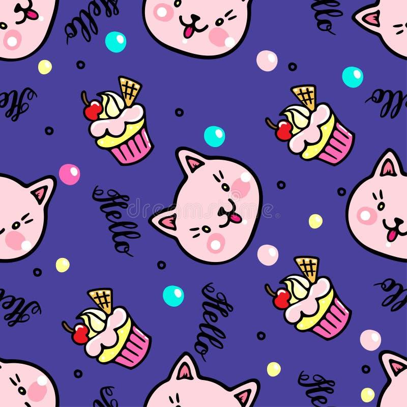 Teste padrão sem emenda do vetor com gatinhos e queques Olá! rotulação ilustração stock