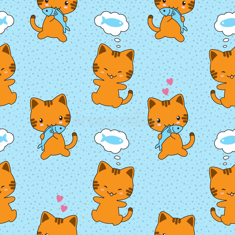 Teste padrão sem emenda do vetor com gatos bonitos ilustração stock