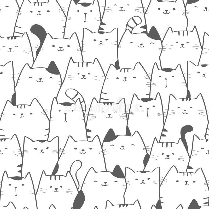 Teste padrão sem emenda do vetor com gatos bonitos Arte da garatuja ilustração royalty free