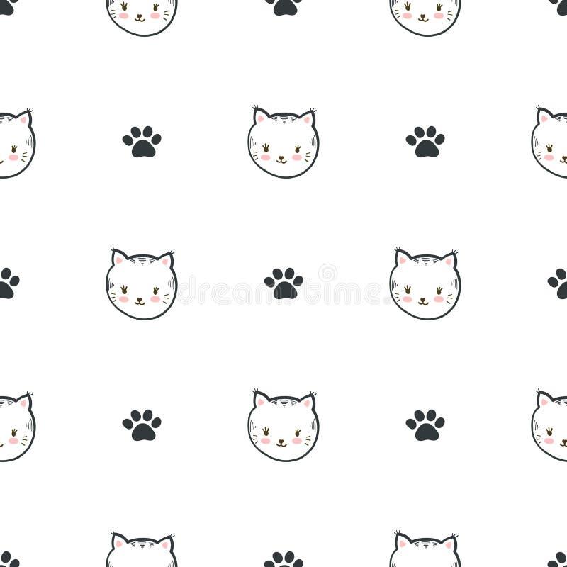 Teste padrão sem emenda do vetor com gatos e patas ilustração do vetor