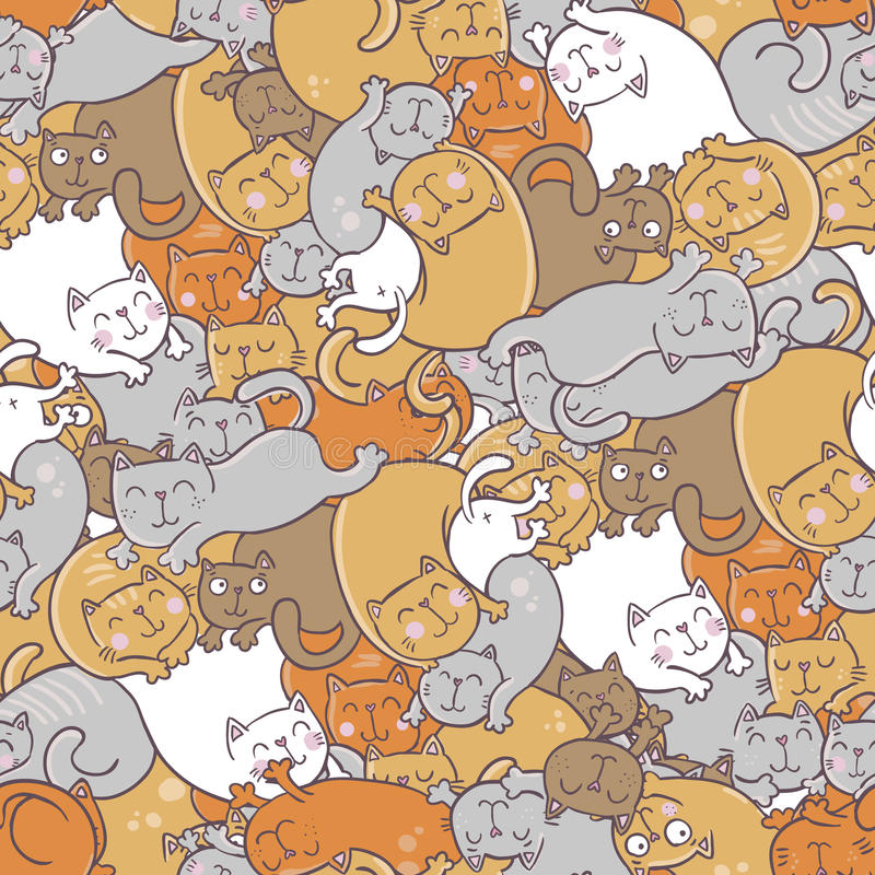 Teste padrão sem emenda do vetor com gatos engraçados ilustração stock