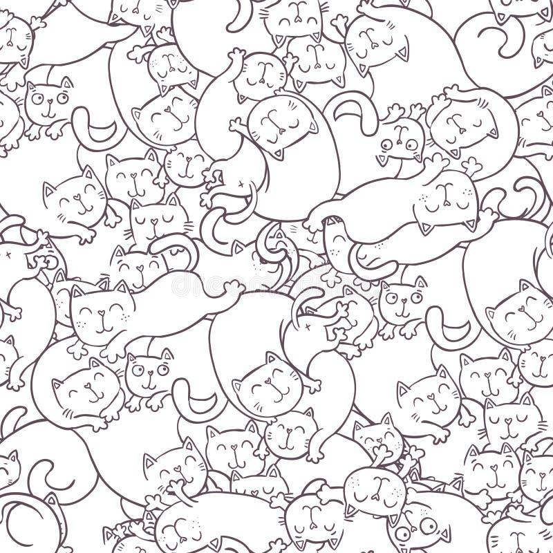 Teste padrão sem emenda do vetor com gatos engraçados ilustração royalty free