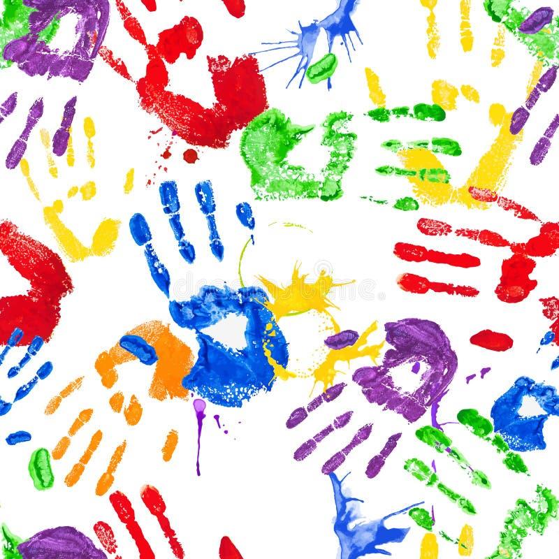 Teste padrão sem emenda do vetor com handprints da pintura ilustração do vetor