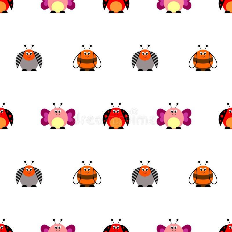 Teste padrão sem emenda do vetor com insetos Fundo bonito com as borboletas, os joaninhas, os besouros de Colorado e as abelhas c ilustração stock