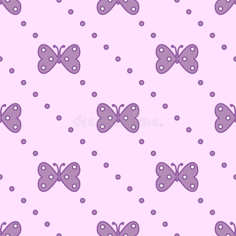 Teste padrão sem emenda do vetor com insetos, fundo simétrico com borboletas violetas e pontos no contexto cor-de-rosa ilustração stock
