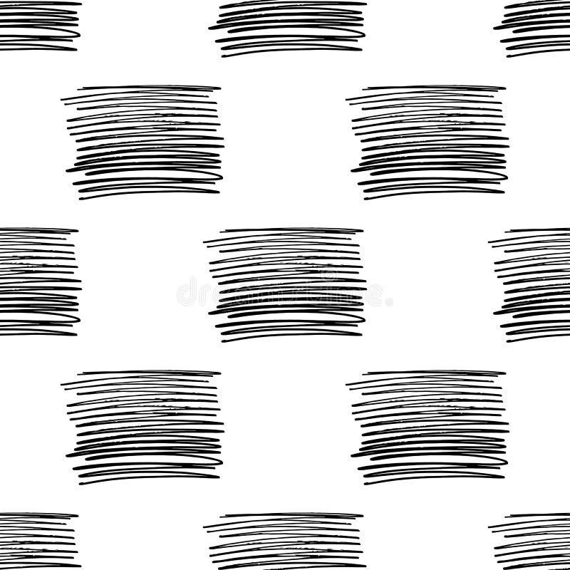 Teste padrão sem emenda do vetor com listras da escova Cor preta no fundo branco Linha pintado à mão textura da granja tinta ilustração stock