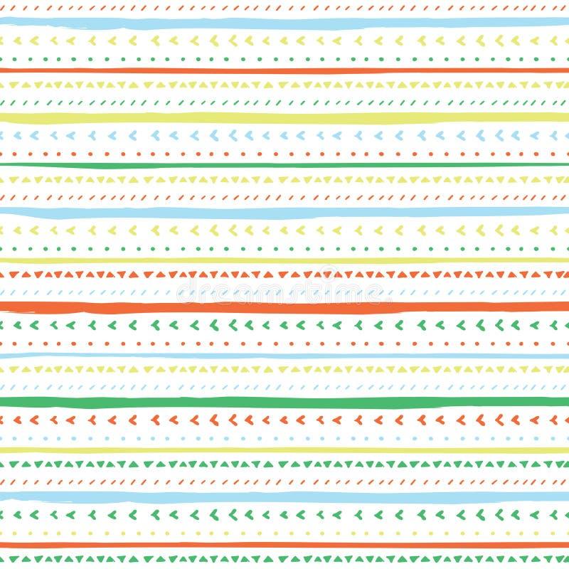 Teste padrão sem emenda do vetor com listras e triângulos handdrawn Listras tiradas mão da laranja, as verdes, as amarelas e as a ilustração do vetor
