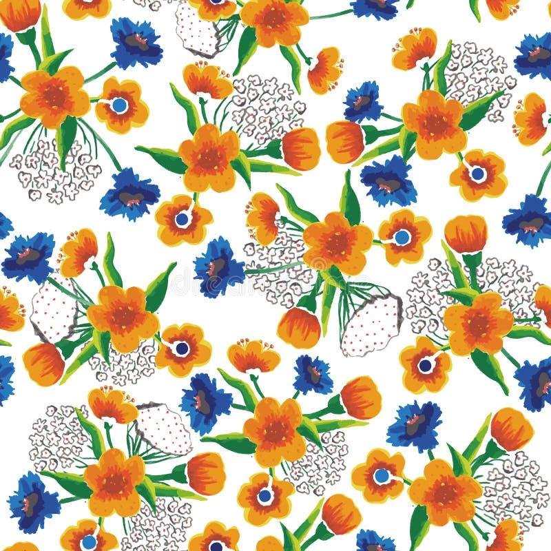Teste padrão sem emenda do vetor com mão colorida grupos tirados da flor ilustração stock
