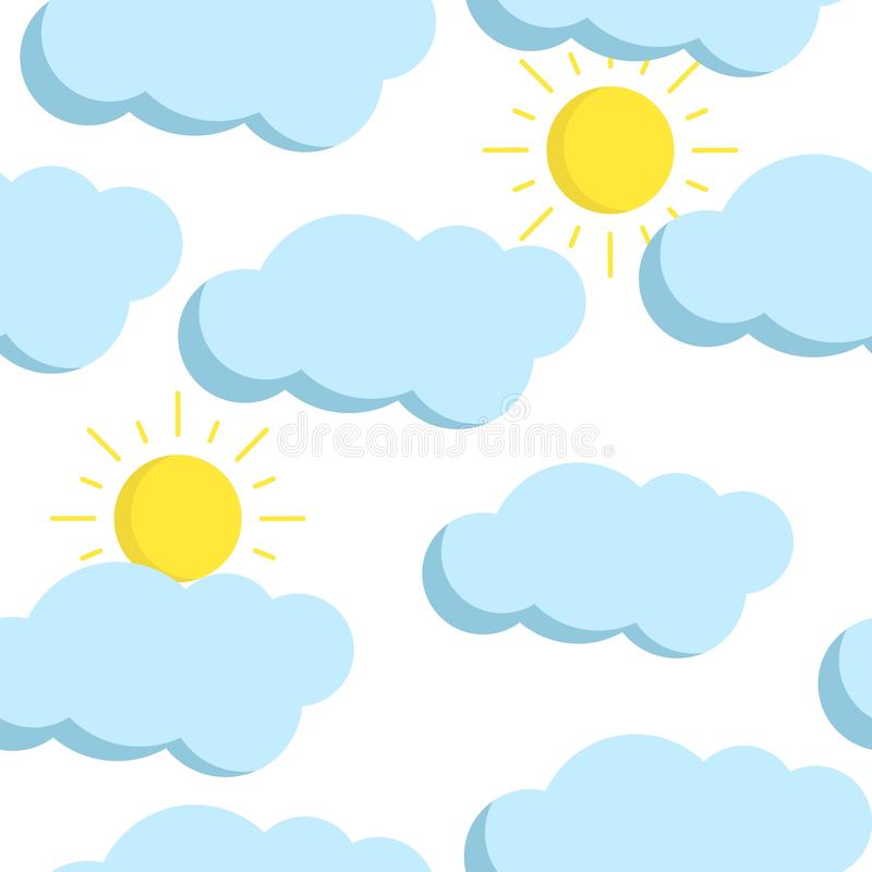 Teste padrão sem emenda do vetor com nuvens e o sol lisos ilustração stock