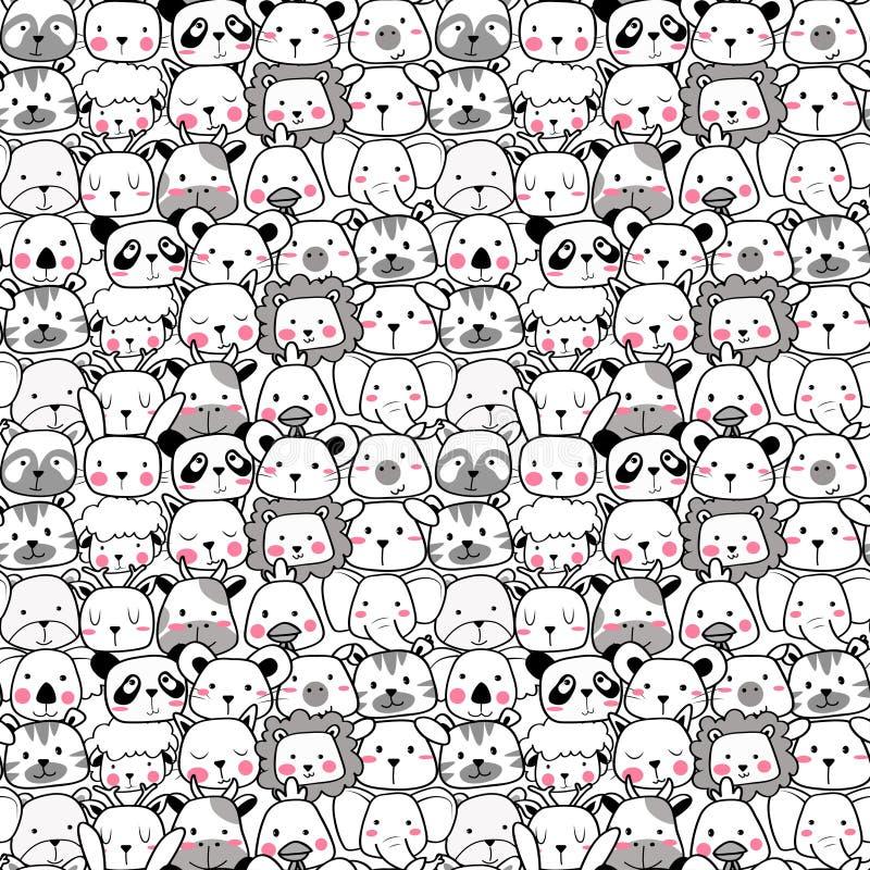 Teste padrão sem emenda do vetor com o animal bonito da cara Teste padrão para a tela, a roupa do bebê, o fundo, a matéria têxtil ilustração royalty free