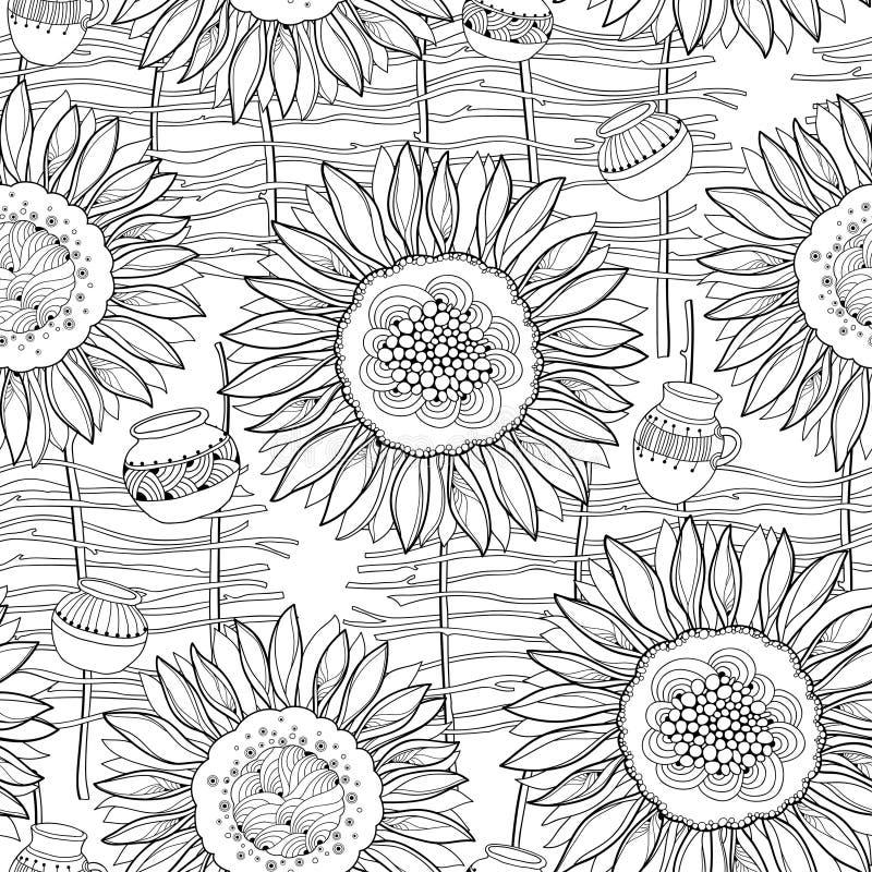 Teste padrão sem emenda do vetor com o girassol aberto do esboço, a cerca de vime e o jarro no fundo branco Teste padrão floral d ilustração royalty free