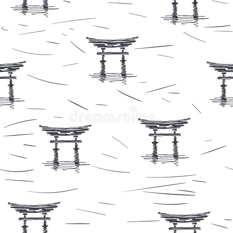 Teste padrão sem emenda do vetor com o pagode no estilo do esboço Textura tirada mão com o símbolo da arquitetura oriental isolad ilustração royalty free