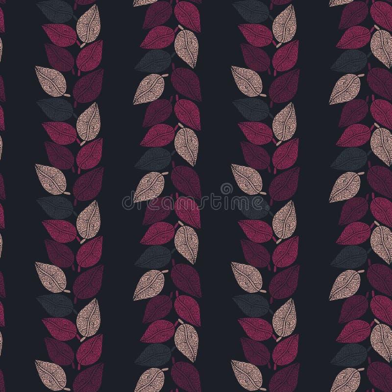 Teste padrão sem emenda do vetor com o rosa e as folhas roxas que formam listras verticais no fundo escuro ilustração royalty free