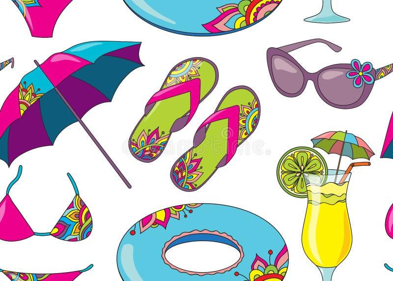 Teste padrão sem emenda do vetor com objec da praia do beira-mar das férias de verão ilustração stock