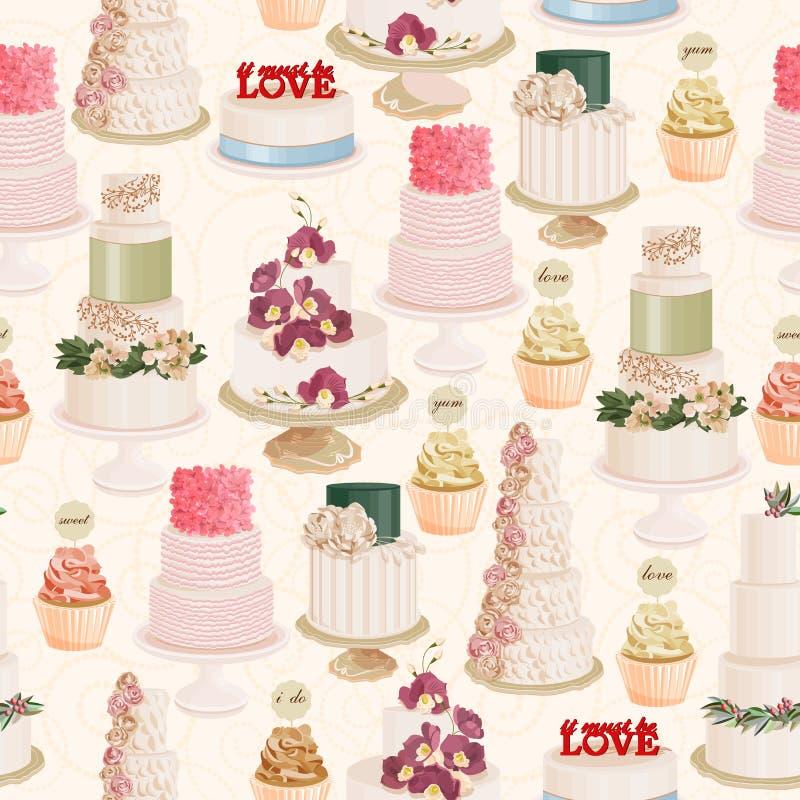 Teste padrão sem emenda do vetor com os bolos de casamento diferentes no estilo do vintage no fundo claro ilustração stock