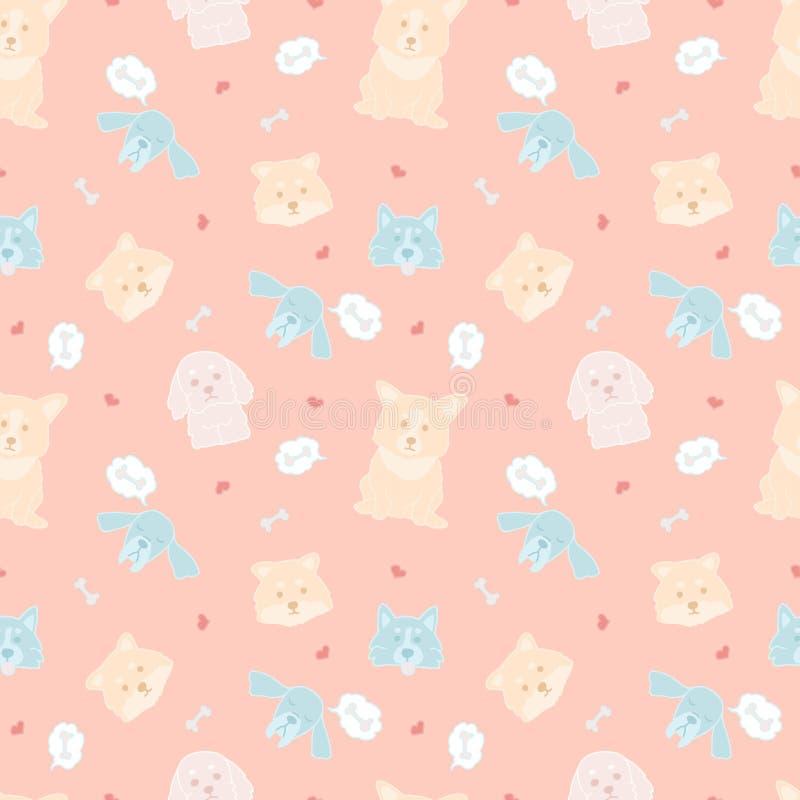 Teste padrão sem emenda do vetor com os cães bonitos da garatuja no fundo cor-de-rosa Ilustração bonita brilhante de animais colo ilustração do vetor