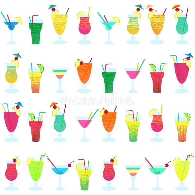 Teste padrão sem emenda do vetor com os cocktail coloridos diferentes ilustração do vetor