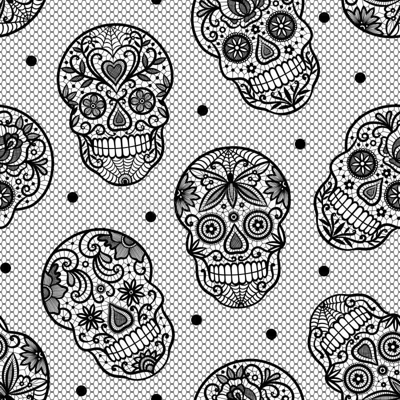 Teste padrão sem emenda do vetor com os crânios do açúcar do laço no fundo branco ilustração stock