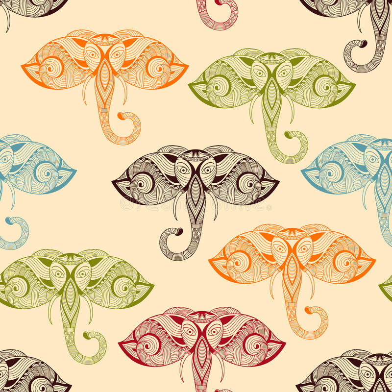 Teste padrão sem emenda do vetor com os elefantes brilhantes da garatuja ilustração stock