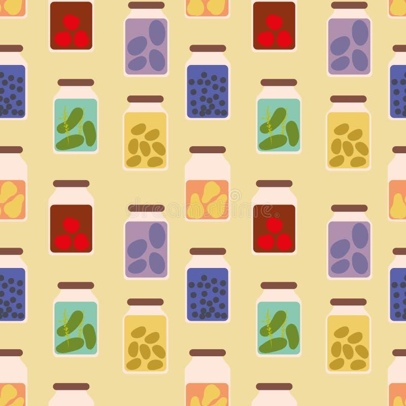 Teste padrão sem emenda do vetor com os frascos completos de frutos preservados e de vegetarianos ilustração do vetor