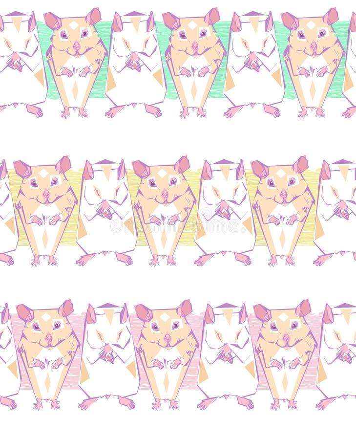 Teste padrão sem emenda do vetor com os hamster geométricos em barras de cor