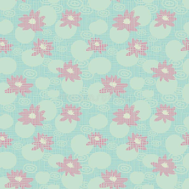 Teste padrão sem emenda do vetor com os lírios de água cor-de-rosa que flutuam na água ilustração royalty free