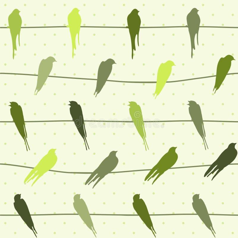 Teste padrão sem emenda do vetor com os pássaros em fios ilustração stock