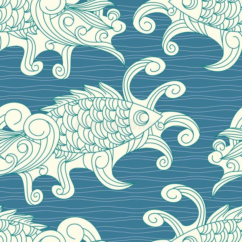 Teste padrão sem emenda do vetor com os peixes da carpa do koi ilustração stock