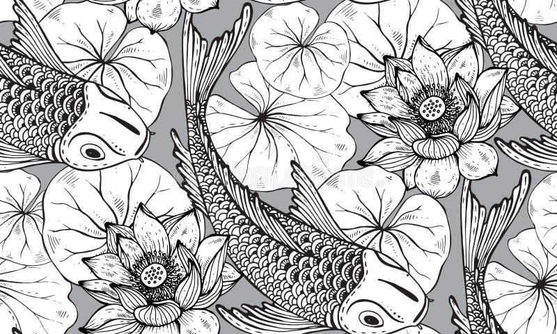 Teste padrão sem emenda do vetor com os peixes tirados mão de Koi com lótus ilustração do vetor