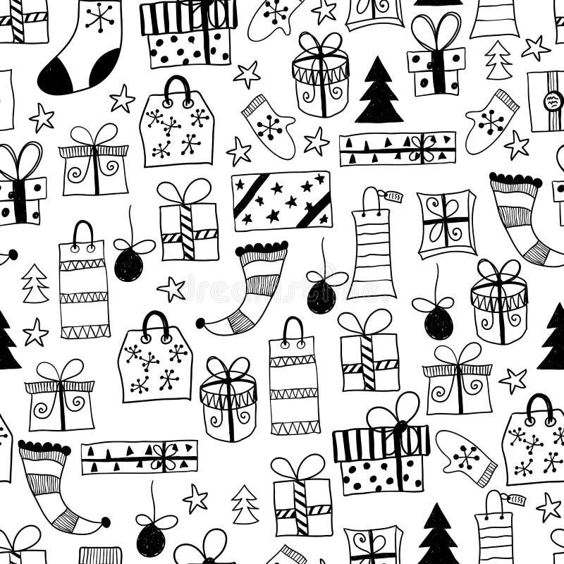 Teste padrão sem emenda do vetor com os presentes tirados mão do Natal ilustração stock