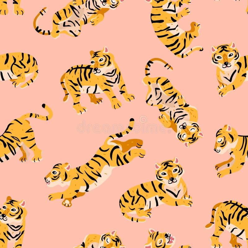 Teste padrão sem emenda do vetor com os tigres no estilo na moda da criança dos desenhos animados Cor cor-de-rosa ilustração do vetor
