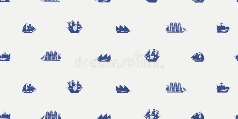 Teste padrão sem emenda do vetor com os vários navios de navigação ilustração royalty free