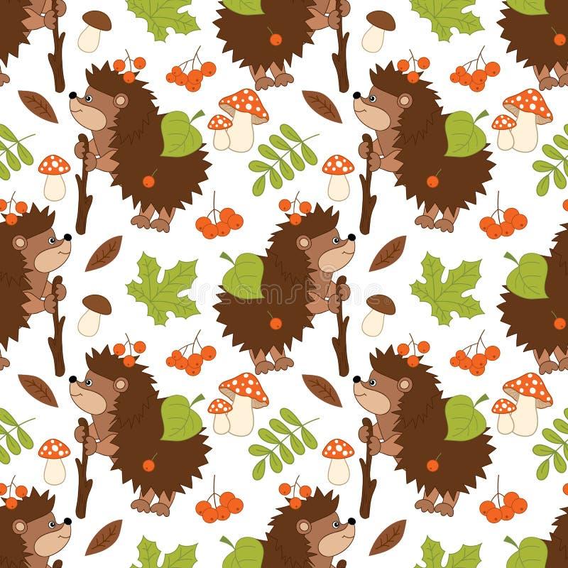 Teste padrão sem emenda do vetor com ouriços bonitos, cogumelos, bagas e folhas ilustração stock